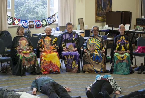 Interfaith clergy singing at the Big I conference