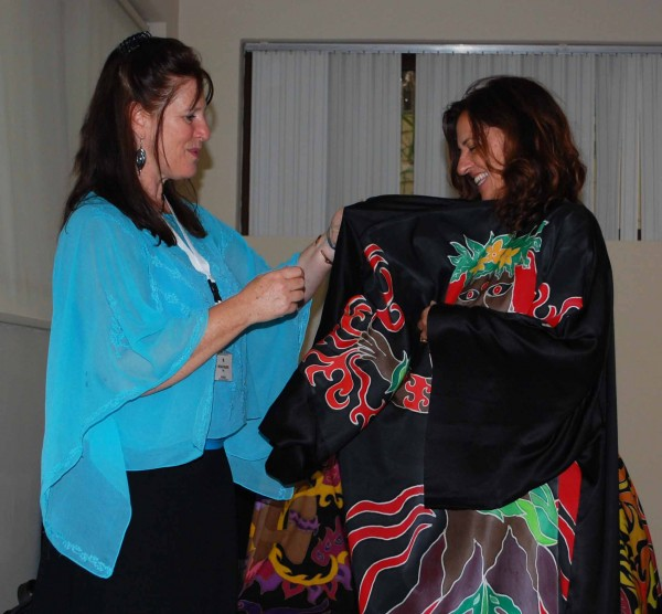 Helping with the Passion robe